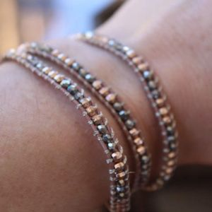 Stella & Dot Beaded Leather Wrap Bracelet